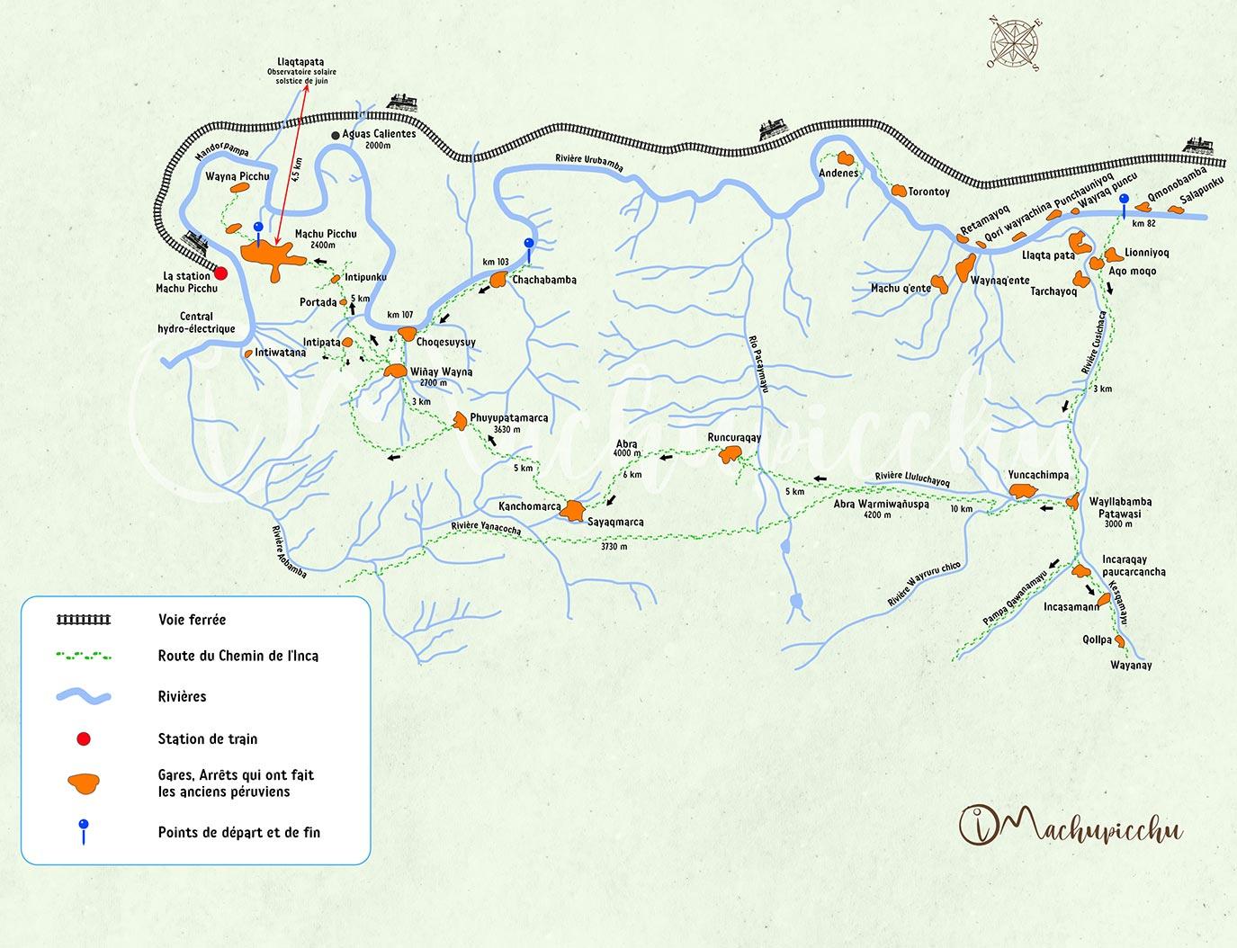 Carte du Chemin de l'Inca